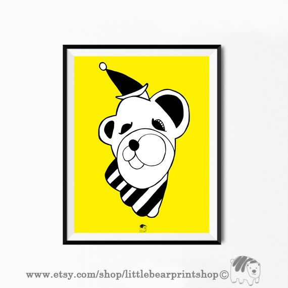 Circus Bear in Yellow Print, Big Poster, Size A2 Digital Download 8.68€. Printable artwork is a beautiful, quick and cost effective way of updating your art. Available on Etsy. ❤️