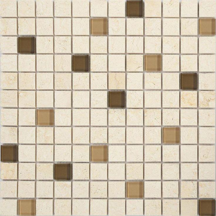 Cream & Brown Stone & Glass Random Mix Mosaic Wall Tiles Sheets MT0063 in Home, Furniture & DIY, DIY Materials, Flooring & Tiles | eBay