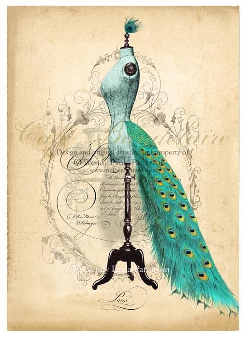 French Mannequin Art Print Peacock Bustle  ACEO Giclee. $5.00, via Etsy.