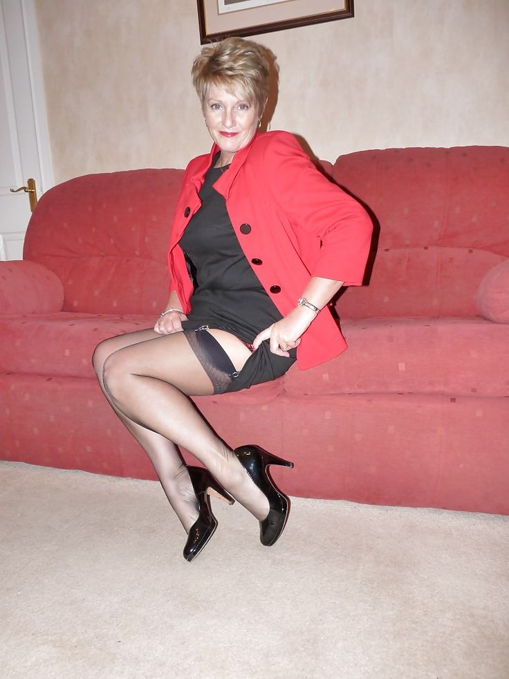 In nylons lady high heel mature