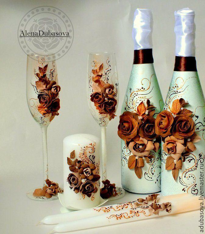"""Купить Набор """"Шоколад"""" - коричневый, свадьба, свадебные аксессуары, свадебный набор, свадебные бокалы"""