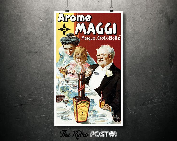 """1907 Arome Maggi // Marque """"Croix-Etoile"""" // French Clear Soup Vintage Advertisement // High Quality Fine Art Reproduction Giclée Print by TheRetroPoster on Etsy"""