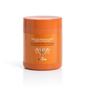 Keyra Μάσκα Μαλλιών Με Κερατίνη 500ml Μάσκα μαλλιών για άμεση αναδόμηση ειδικά για ξηρά και ταλαιπωρημένα μαλλιά από θερμότητα και τεχνικές εργασίες. Περιέχει υδρολυμένη κερατίνη η οποία αναπληρώνει την φυσική κερατίνη που καταστρέφεται από τις τεχνικές εργασίες. Αναδομεί και θρέφει την τρίχα από το εσωτερικό της, προλαμβάνει την αφυδάτωση και χαρίζει απαλότητα και λάμψη.  Προστατεύει  τα μαλλιά και επαναφέρει την υγεία και την ελαστικότητά τους. Τιμή €10.50