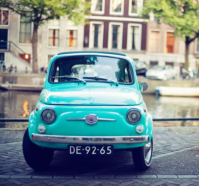 "Fiat 500 in Amsterdam... Also love the little ""back-pack""...."