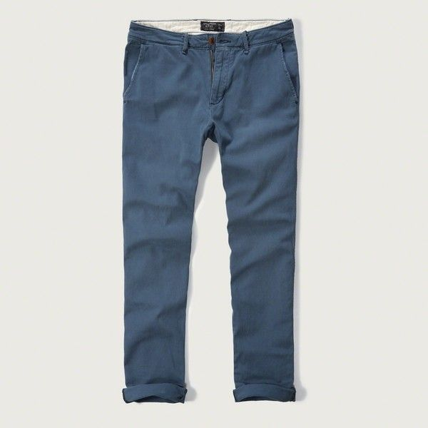 Abercrombie & Fitch Skinny Chinos ($68) ❤ liked on Polyvore featuring men's fashion, men's clothing, men's pants, men's casual pants, light blue, mens skinny chino pants, mens light blue pants, mens zip off pants, mens skinny fit dress pants and mens skinny pants