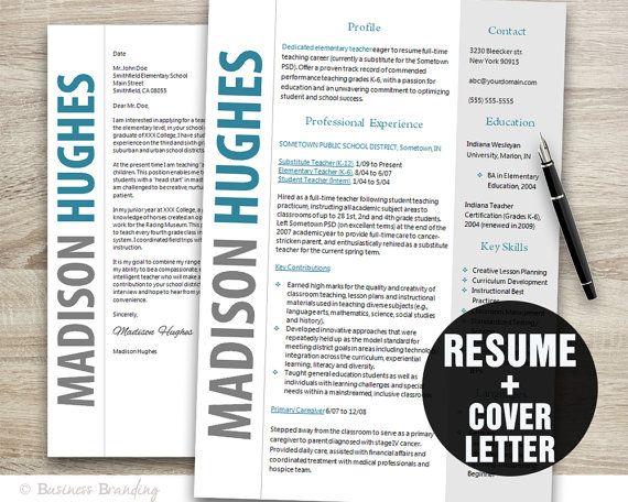 teacher resume template word cover letter template instant download creative resume design cv template - Creative Resume Templates Free Word