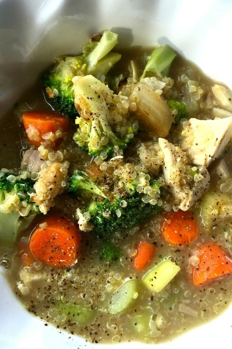 Broccoli Chicken Quinoa Soup. Omit the cheese.