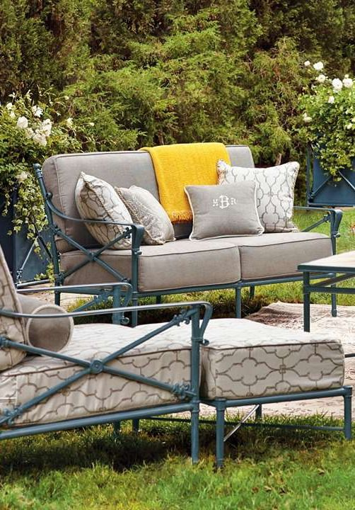 The Campaign Seating collection brings Parisian style to your garden with delicate cast iron framework and plush cushions that provide a comfortable place to socialize with guests.: Brings Parisian, Iron Framework, Parisian Style, Garden, Cast Iron