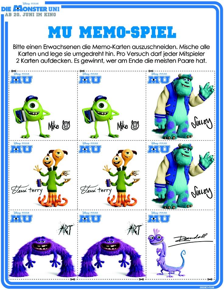 Die Monster Uni Memo-Spiel #DieMonsterUni ©Disney•Pixar