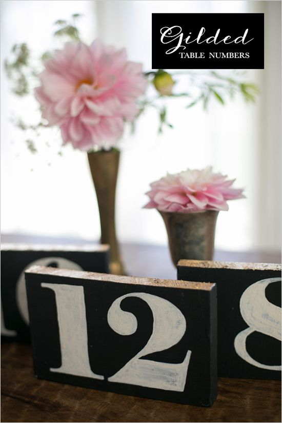 gilded table numbers diy #diytablenumbers #weddingreception #weddingchicks http://bit.ly/1hIPSXu
