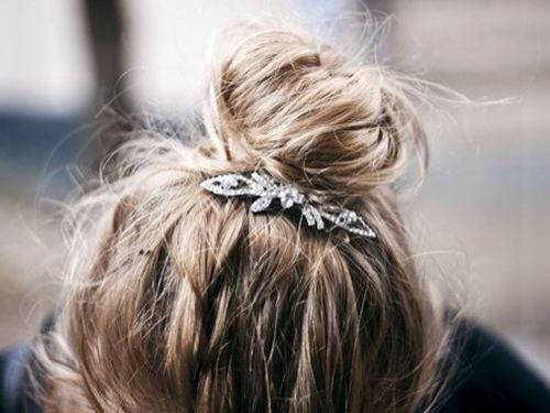 messy bun + hair piece.