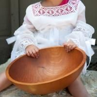 Extra large handmade wooden salad bowl for great evenings that begin with salad. Heirloom quality Cherry bowl large enough to feed a crowd. Free Shipping.