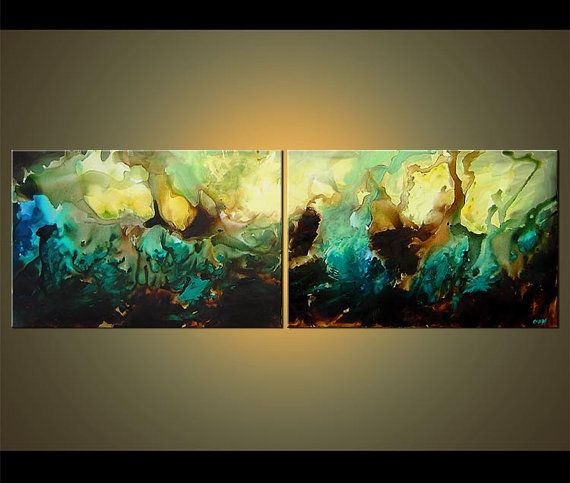 """Original Contemporary Teal Turquoise Abstract Painting Large Acrylic Painting by Osnat - MADE-TO-ORDER - 72""""x24"""""""
