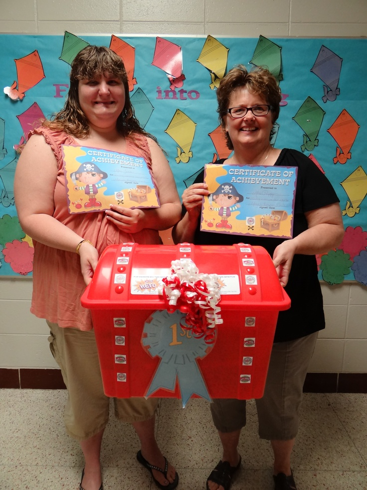 """Our last Box Tops contest of the school year was a challenge to bring in Box Tops and watch our treasure grow. Well grow it did! This contest brought in 6,300 Box Tops! Mrs. Peggy's Preschool, along with the help of her aide, Mrs. Tina, was the winner of the """"Treasure Chest of Goodies"""" bringing in an impressive 1,212 Box Tops!"""