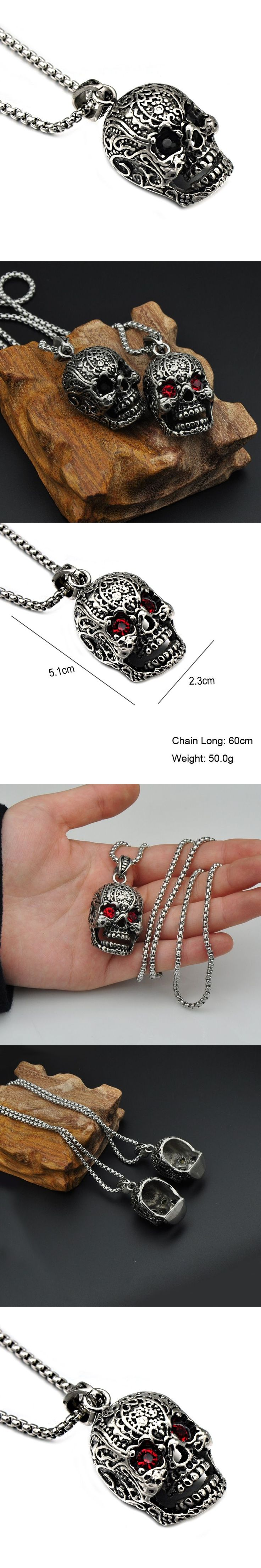 HIP Punk Gothic Red Cubic Zirconia Eyes Skull Men Necklaces Pendants Hallowee Titanium Stainless Steel Necklaces for Men Jewelry