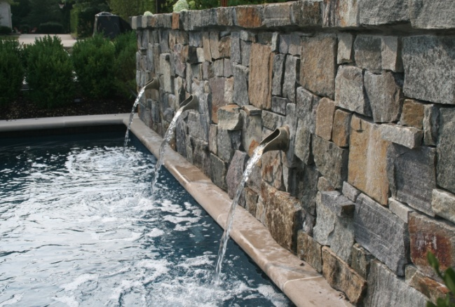 3 Spouts Built Into Dry Stone Wall Www Fountainsdallas Fountain Scuppers Weirs In 2018 Pinterest Water Features Pool And