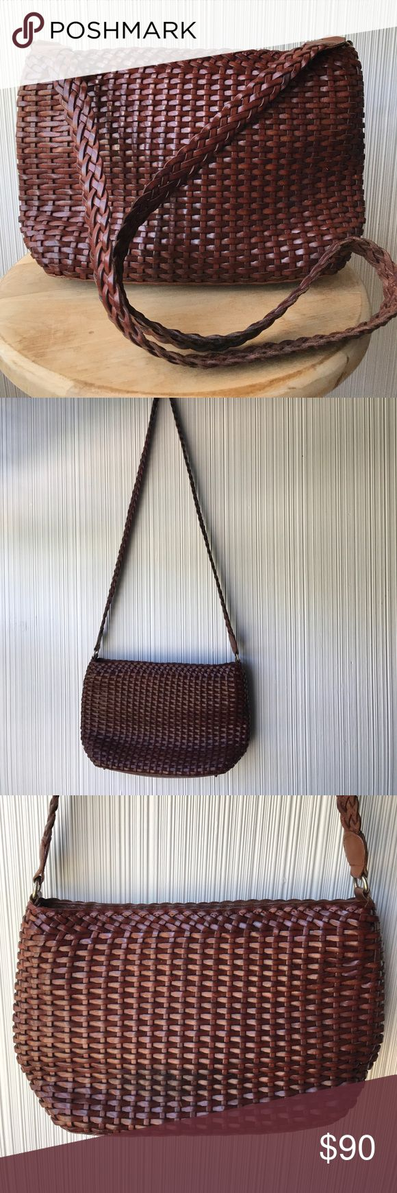 Cole Haan Weave Purse Absolutely stunning bag from Cole Haan. All over weave in a gorgeous deep cognac color. Perfectly on trend right now - genuine leather never goes out of style. Minor staining inside - in otherwise great condition. Cole Haan Bags