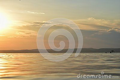 A sunset over the Lake Balaton in Hungary.