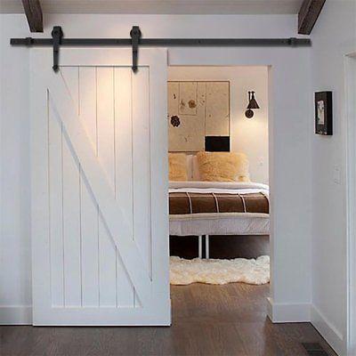 6FT Wood Door Hardware Closet Set Sliding Iron Rail Track  Rolling Pull Kit Home