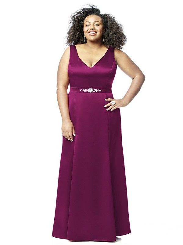 Dessy Lovelie 9011 Bridesmaid Dress.  This sleeveless full-length gown is fashioned from silky Renaissance Satin. The form fitting bodice of this plus size dress is flattering to a curvaceous figure. It has a V-neckline, both front and back. A belt with rhinestone accents cinches the waistline while the long, A-line skirt falls in sleek lines.