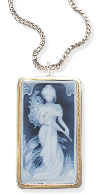 Image result for blue agate cameo pendant