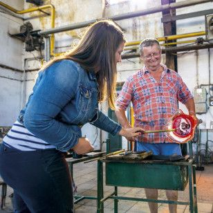 """@kackakacka, Sans Souci designer at the glassworks cooperating with a glass-blower on a new design piece - light fixture """"Ballerina."""