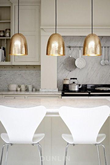 Gold kitchen lights!!