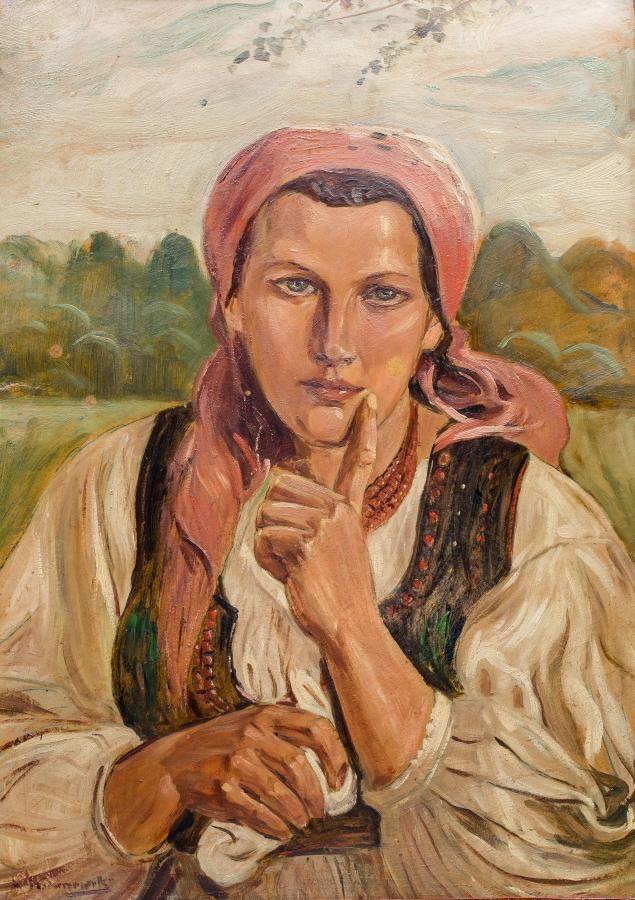 Wincenty Wodzinowski: Krakowianka olej, tektura, 67 × 47,5 cm w świetle ramy sygn. l.d.: W. Wodzinowski