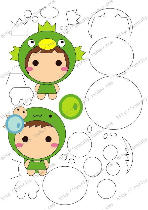 Frog girl felt with instruction