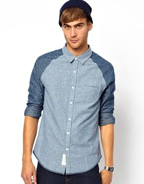 Native Youth Contrast Chambray Shirt