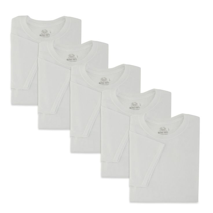 Men's Fruit of the Loom 5-pack Signature Ultra-Soft Crewneck Tees, Size: Medium, White