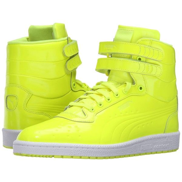 PUMA Sky II Hi Patent Emboss (Safety Yellow) Men's Court Shoes ($90) ❤ liked on Polyvore featuring men's fashion, men's shoes, men's sneakers, mens high top shoes, mens patent leather shoes, mens velcro shoes, mens sneakers and mens velcro strap shoes