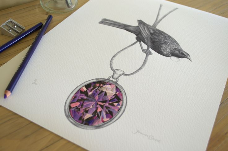 Tui & Amethyst By Joanne Bowe New Zealand Artist