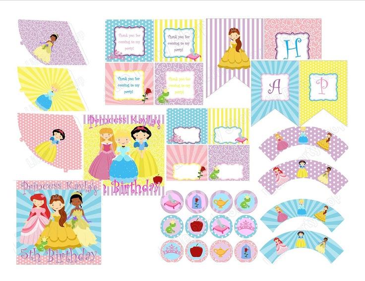 Princess DIY Party Printables - Personalized