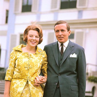 Crown Princess Beatrix, with her then fiance, Claus Von Amsberg, a West German diplomat, on 28 June 1965