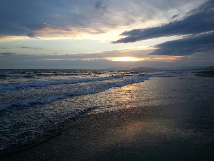 Marina Di Pietrasanta in Toscana Italy - sunset on the beach of the Ligurian Sea