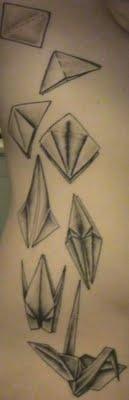 LOVE this paper crane tattoo.