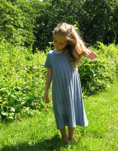 Knit pattern for cotton bam boo girl's dress with beading