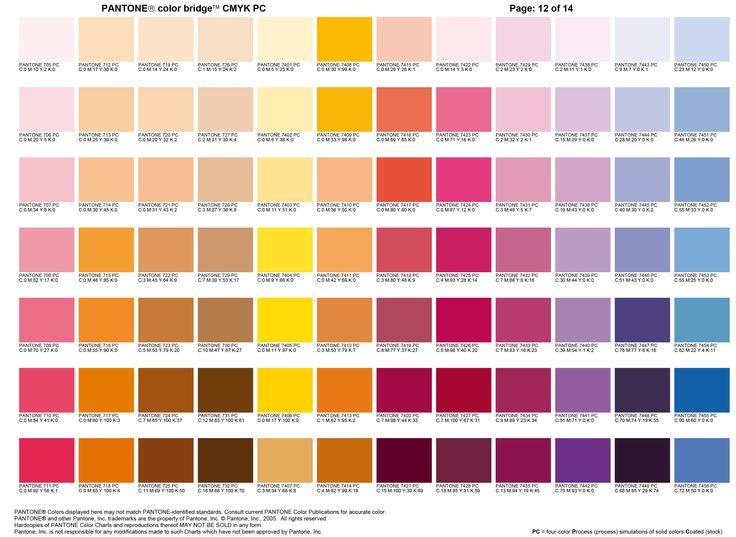 Carta color Pantone 12   |   Color Pantone chart 12