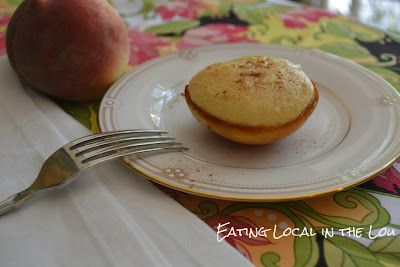 Baked Peaches with Cheesecake Filling- perfect summer dessert! (via Eating Local in the Lou): Cheesecake Fillings, Baking Peaches, Summer Desserts, Recipes, Eating Local, Peachy Keen, Keen Desserts, Perfect Summer, Cream Chee