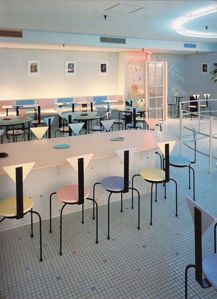 Pierrot Cafe in Osaka, Japan: 80's interior design