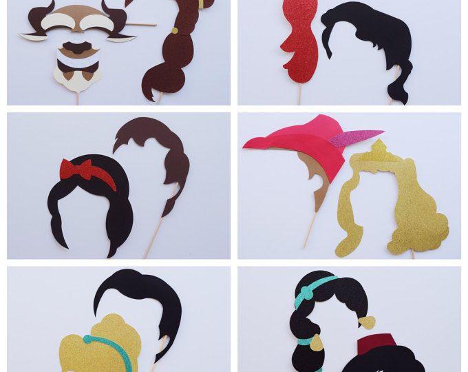 Disney princesa y Príncipe Fotomatón Prop conjunto; Cabina de la foto de Disney accesorios fiesta de cumpleaños de princesa; Princesa Party Decor; Boda de Disney
