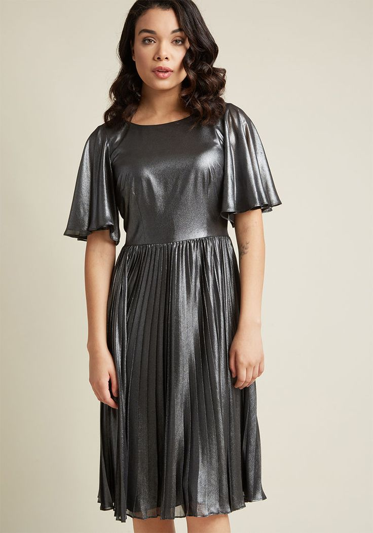 Adrianna Papell Metallic Pleated Dress in 14 - Short Sleeve A-line Midi by Adrianna Papell from ModCloth