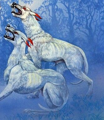 In Welsh mythology and folklore, Cŵn Annwn were the spectral hounds of Annwn, the otherworld of Welsh myth. They were associated with a form of the Wild Hunt, presided over by Arawn, king of Annwn. They are often depicted as white with red ears.