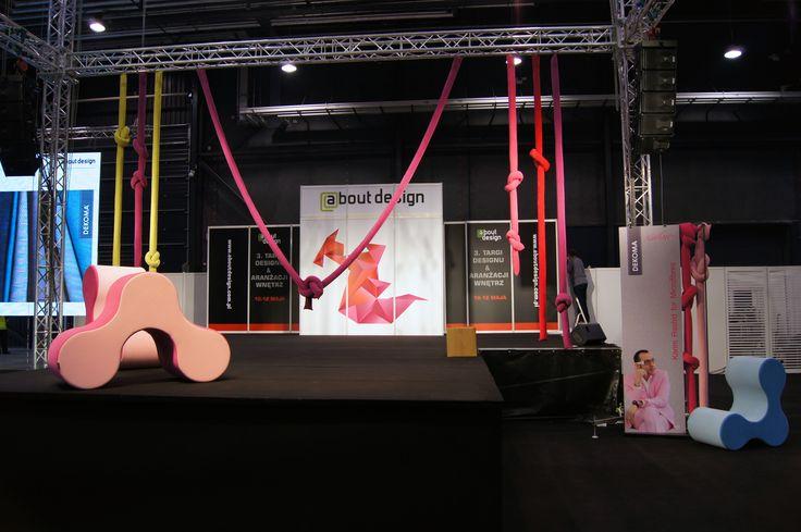 Design and Interiors Fair 2014. Main Stage with glamorous fabrics designed by Karim Rashid and furniture projects of Agnieszka Dolska. #fairtrade #globalove #futuristic #pouf