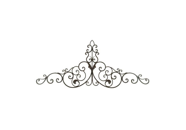 59 Wide Large Brown Metal French Country Scrollwork Swag Wall Art