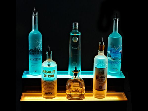 Our 2 tier. LED liquor bottle shelf is made of 100% acrylic, has 18 LED bulbs per foot and comes with a 2 year warranty. Buy online today.