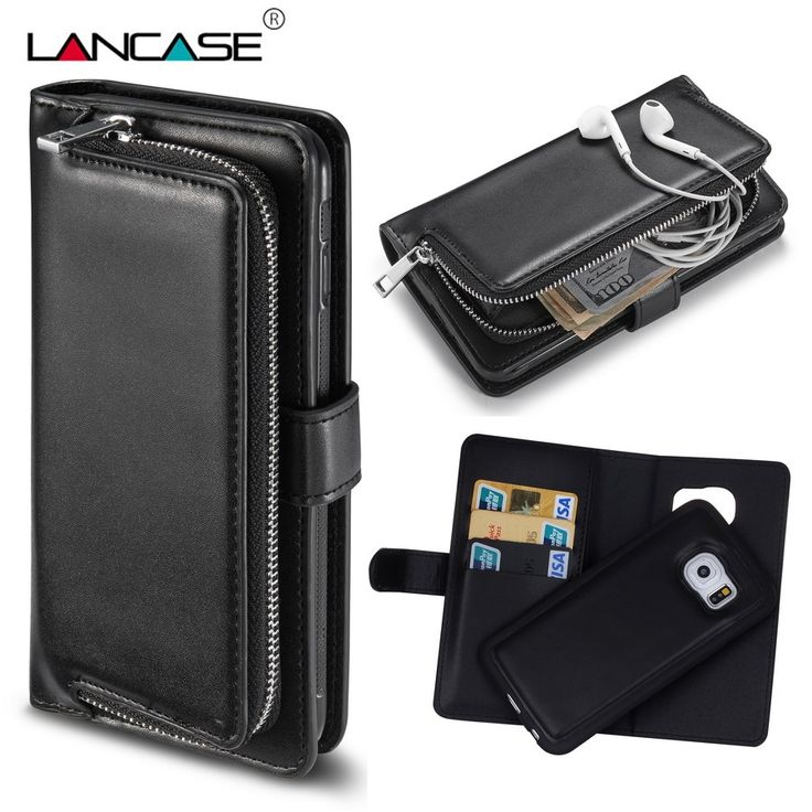 >> Click to Buy << LANCASE For Samsung Galxy S6 Edge Case Detachable Leather PU Flip Stand Wallet Case For Samsung S6 S6 Edge Zipper Handbag Cover #Affiliate