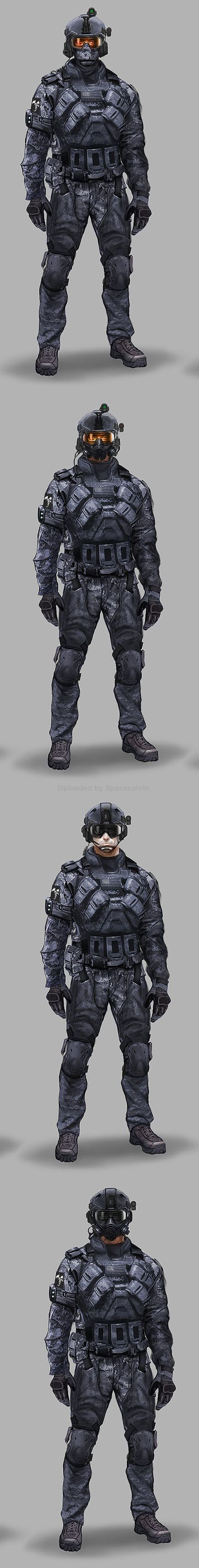 Small changes to a character's equipment can have a big impact not only on how the model looks but on how it acts on the tabletop.  Concepts_ASSAULT_head_alts by Eric Chiang