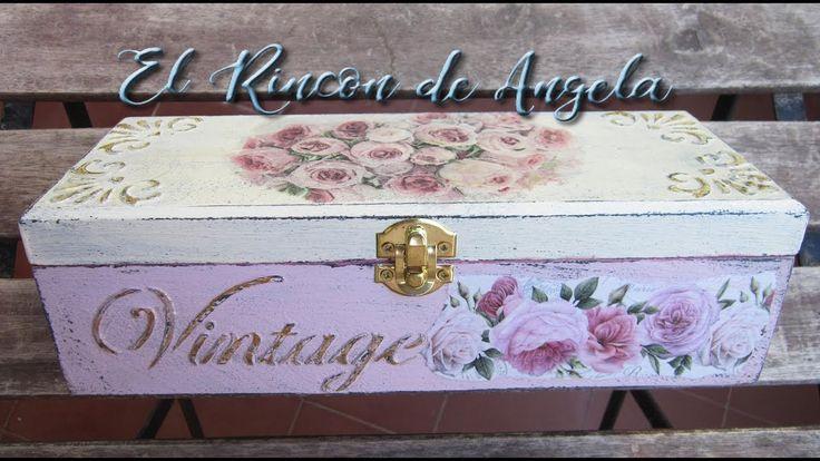 Caja de té decorada con #decoupage, decapado y relieve #manualidades #crafts #vintage #decoración
